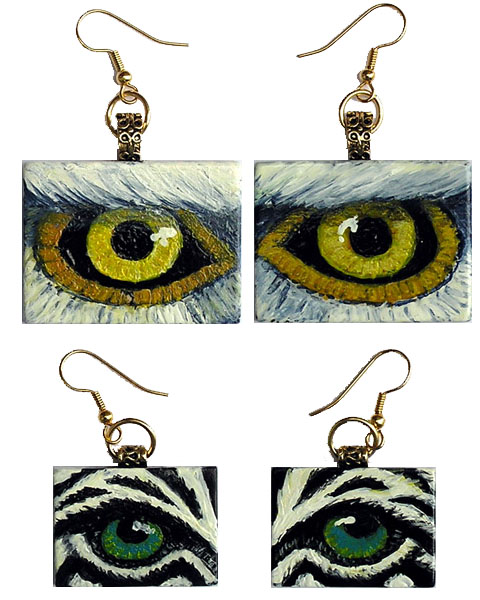 Eye Help Animals Wildlife Eye Earrings - Detailed Image