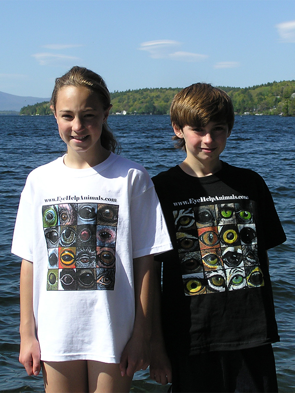 Exclusive EyeHelpAnimals.com T-Shirts available in Youth Sizes in Classic Black and Cool and Comfortable White