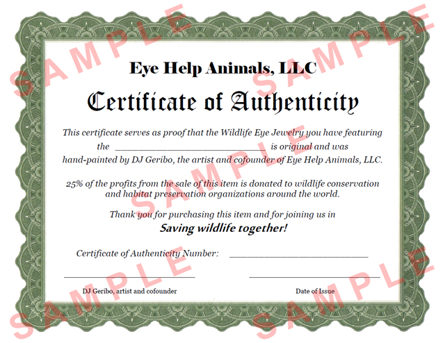 Certificate of authenticity eye help animals llc sample eye help animals certificate of authenticity click here to see a larger image yadclub Choice Image
