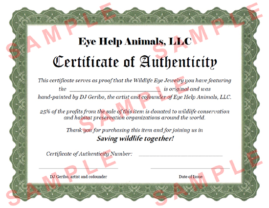 Certificate of authenticity eye help animals llc sample eye help animals certificate of authenticity yadclub Gallery
