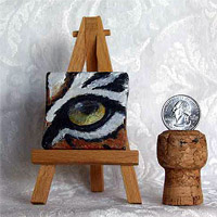 DJ Geribo's Original Miniature Wildlife Eye Paintings will be on display