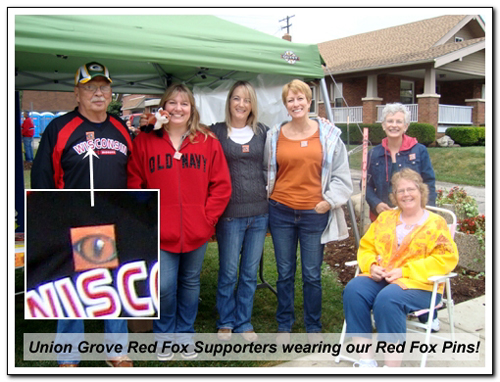 Union Grove Fox Supporters wearing Eye Help Animals Red Fox Pins